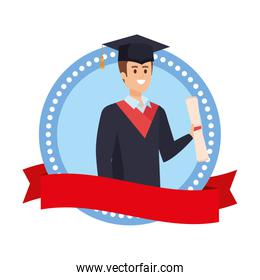 man student graduated with diploma in emblem