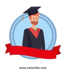 man student graduated with beard in emblem