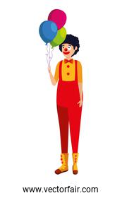 circus clown with balloons helium comic character