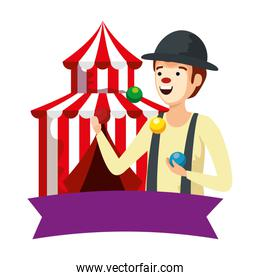 circus clown juggling balls with tent