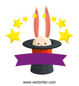circus wizard hat with rabbit and stars