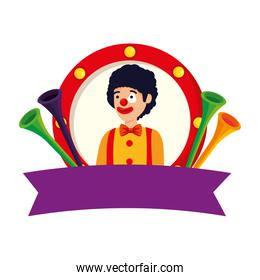circus clown with trumpets in emblem