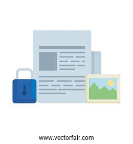 paper document with padlock and picture