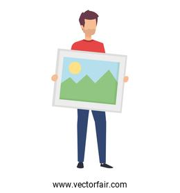 young man lifting picture vector illustration