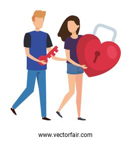 young couple lifting padlock with heart shape
