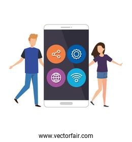 young couple with smartphone and social media menu