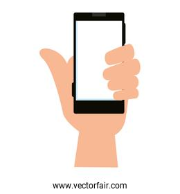 hand with smartphone device icon