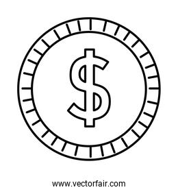 coin money dollar isolated icon