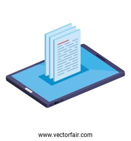 smartphone device with documents icons