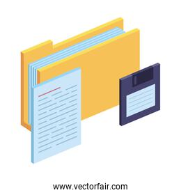 folder with documents files and floppy disk