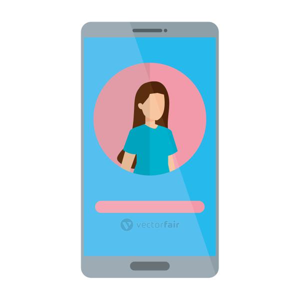 woman acount social in smartphone device character