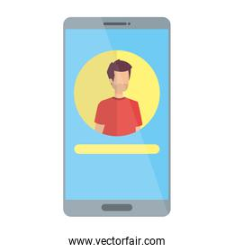 man acount social in smartphone device character