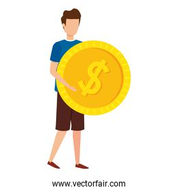 young man lifting coin money dollar