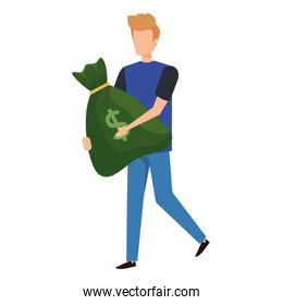 young man lifting money bag