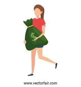 young woman lifting money bag