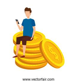 young man seated in coins cash money dollars