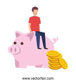 young man seated in piggy savings with coins money