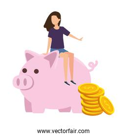 young woman seated in piggy savings with coins money