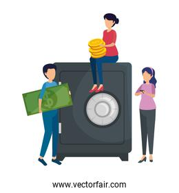people with coins and safe box