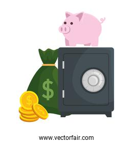 safe box with piggy and money