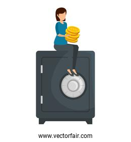 young woman with coins seated in safe box