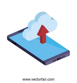 smartphone with cloud computing and arrow upload