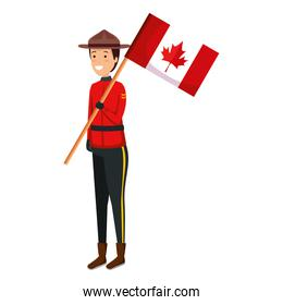 canadian officer ranger with flag character