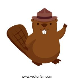 cute beaver with ranger hat mascot animal