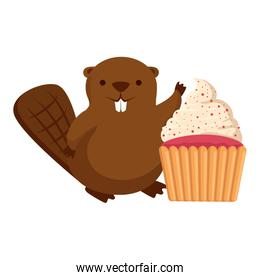 cute beaver mascot with sweet cupcake