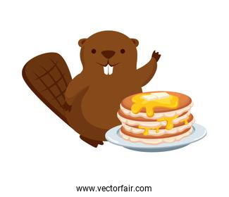cute beaver mascot with sweet pancakes