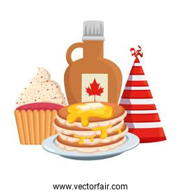 sweet maple syrup bottle with pancake and cupcake