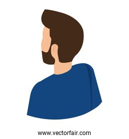 young man with beard back character