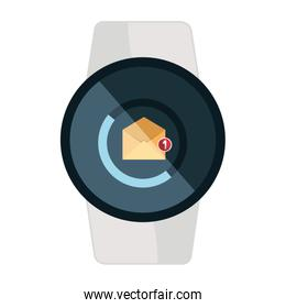 smartwatch with envelope email icon