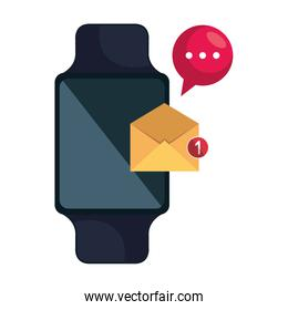 smartwatch with envelope email and speech bubble