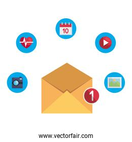 envelope mail with counter and apps menu