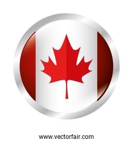 maple leaf canadian button vector illustration