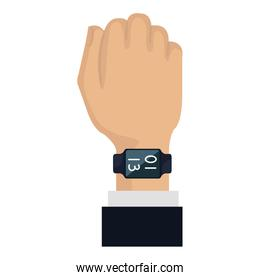 hand with smartwatch weareable technology