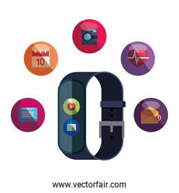 smartwatch with media player button and picture file set apps