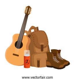 camping travel bag with guitar and boots