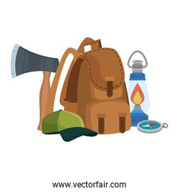 camping travel bag with ax and equipment