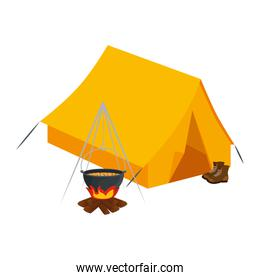tent camping with wood fire and boots