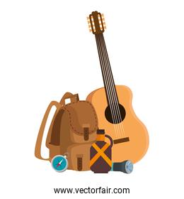 camping travel bag with guitar and canteen
