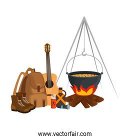 camping travel bag with woodfire and equipment