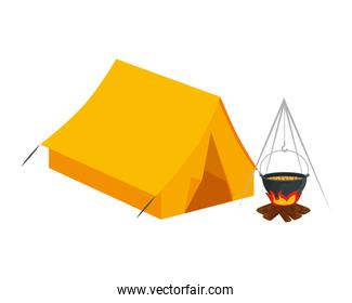 tent camping with wood fire icons