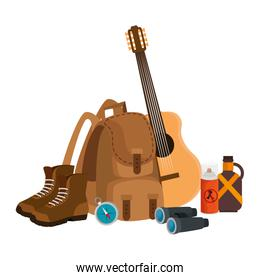 camping travel bag with guitar and equipment