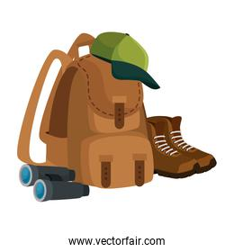 camping travel bag with binoculars and boots