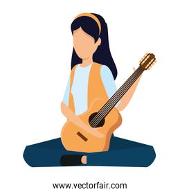 young woman playing guitar instrument