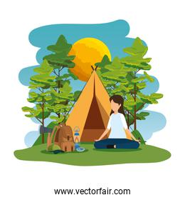 young woman in the camping zone
