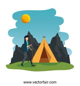 young man in the camping zone