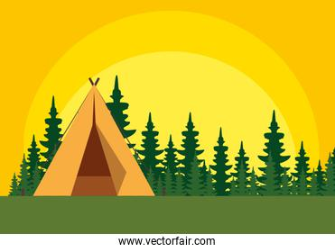 camping zone with camping tent scene